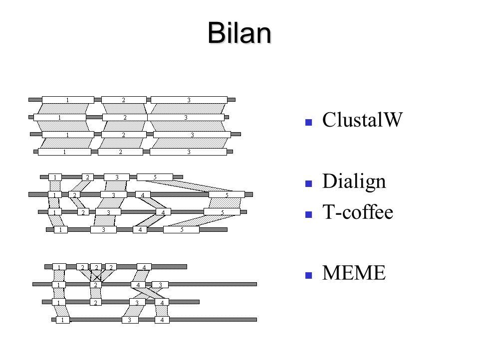 Bilan ClustalW Dialign T-coffee MEME