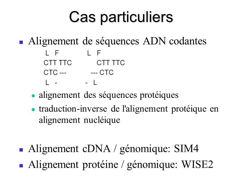 Cas particuliers Alignement de séquences ADN codantes L F L F CTT TTC CTC --- --- CTC L - - L alignement des séquences protéiques traduction-inverse de l alignement protéique en alignement nucléique Alignement cDNA / génomique: SIM4 Alignement protéine / génomique: WISE2