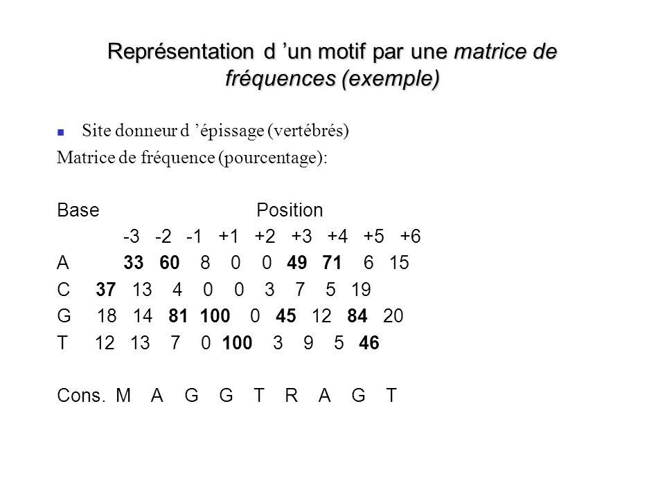Représentation d un motif par une matrice de fréquences (exemple) Site donneur d épissage (vertébrés) Matrice de fréquence (pourcentage): BasePosition -3 -2 -1 +1 +2 +3 +4 +5 +6 A33 60 8 0 0 49 71 6 15 C 37 13 4 0 0 3 7 5 19 G 18 14 81 100 0 45 12 84 20 T 12 13 7 0 100 3 9 5 46 Cons.