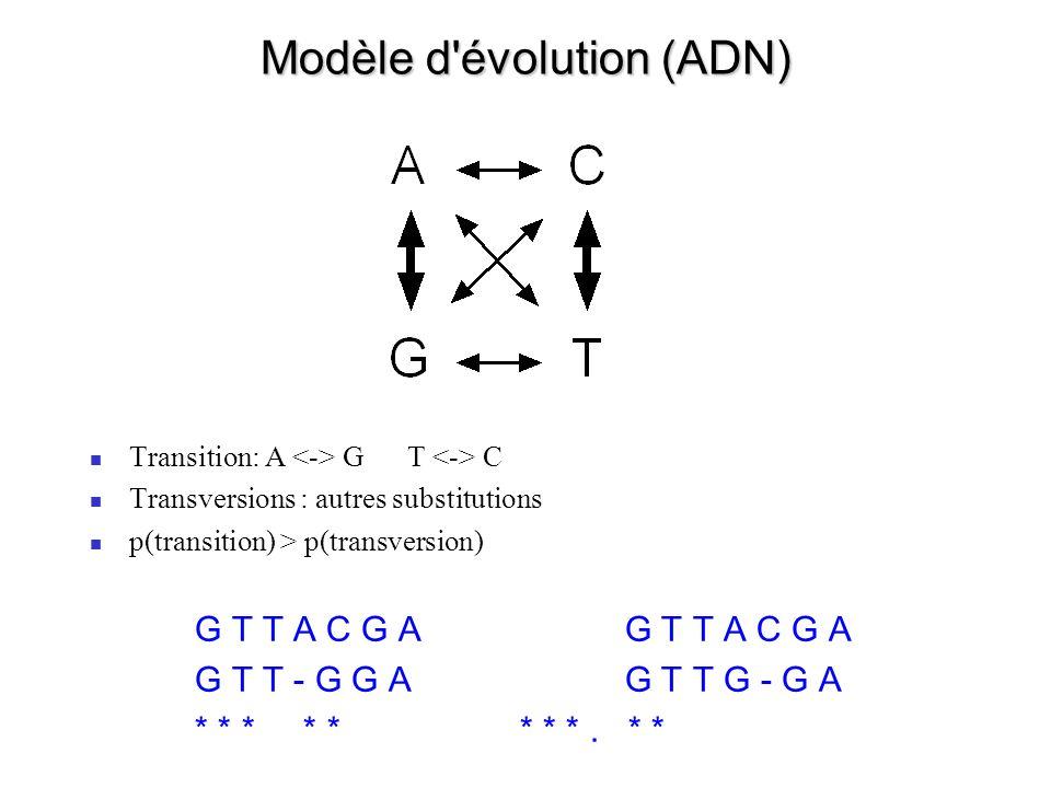 Modèle d évolution (protéines) Code génétique Asp (GAC, GAU) Tyr (UAC, UAU) : 1 mutation Asp (GAC, GAU) Cys (UGC, UGU) : 2 mutations Asp (GAC, GAU) Trp (UGG) : 3 mutations Propriétés physico-chimiques des acides-aminés (acidité, hydrophobicité, encombrement stérique, etc.) Matrices de Dayhoff (PAM), BLOSUM: mesures des fréquences de substitutions dans des alignements de protéines homologues PAM 60, PAM 120, PAM 250 (extrapolations à partir de PAM 15) BLOSUM 80, BLOSUM 62, BLOSUM 40 (basé sur des alignements de blocs) Substitutions conservatrices