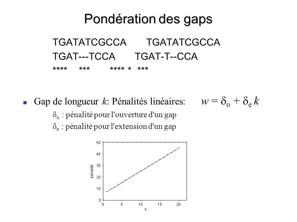 Pondération des gaps (plus réaliste) Estimation des paramètres sur des alignements vrais (par exemple basés sur l alignement de structures connues) Gap de longueur k: Pénalités logarithmiques:w = o + e log(k) w = f(log(k), log(PAM), résidus, structure) – PAM: la probabilité d un gap augmente avec la distance évolutive – Résidus, structure: la probabilité d un gap est plus forte dans une boucle (hydrophile) que dans le cœur hydrophobe des protéines