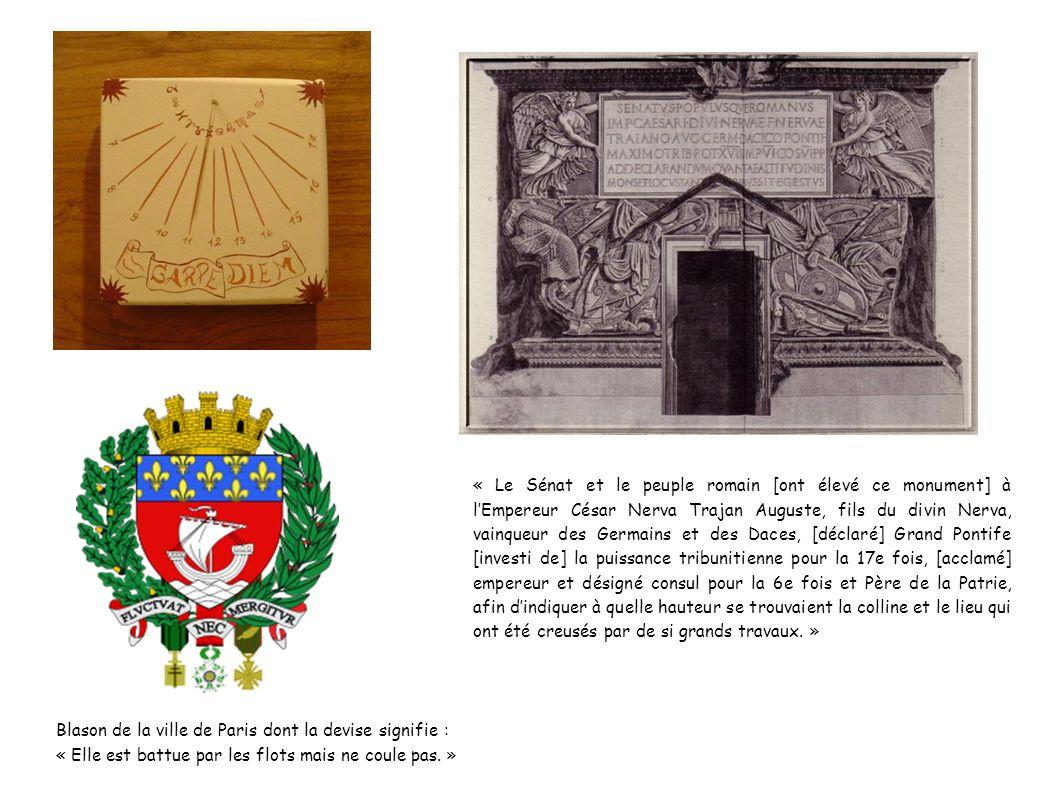Blason de la ville de Paris dont la devise signifie : « Elle est battue par les flots mais ne coule pas. » « Le Sénat et le peuple romain [ont élevé c