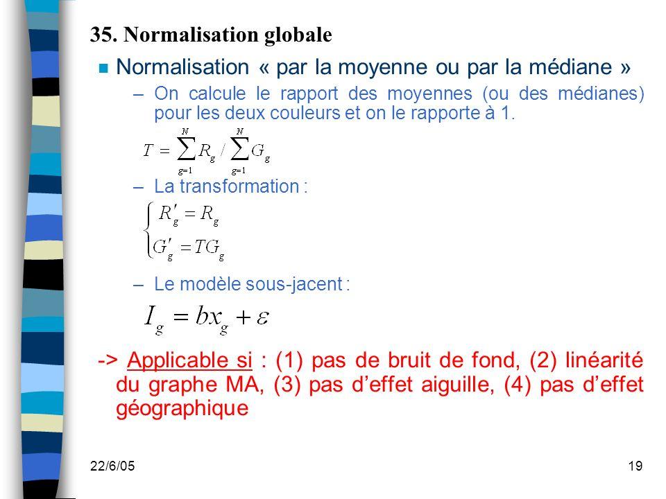 22/6/0519 35. Normalisation globale n Normalisation « par la moyenne ou par la médiane » –On calcule le rapport des moyennes (ou des médianes) pour le