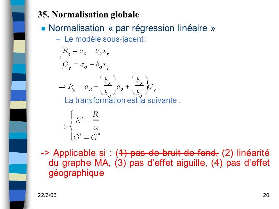 22/6/0520 35. Normalisation globale n Normalisation « par régression linéaire » –Le modèle sous-jacent : –La transformation est la suivante : -> Appli