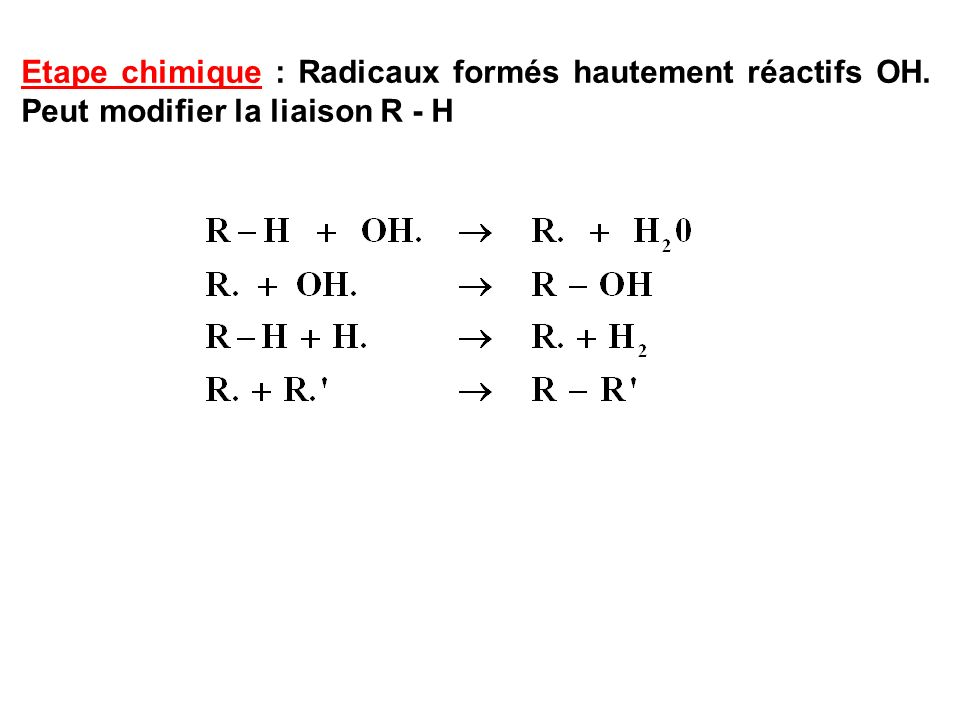 Etape chimique : Radicaux formés hautement réactifs OH. Peut modifier la liaison R - H