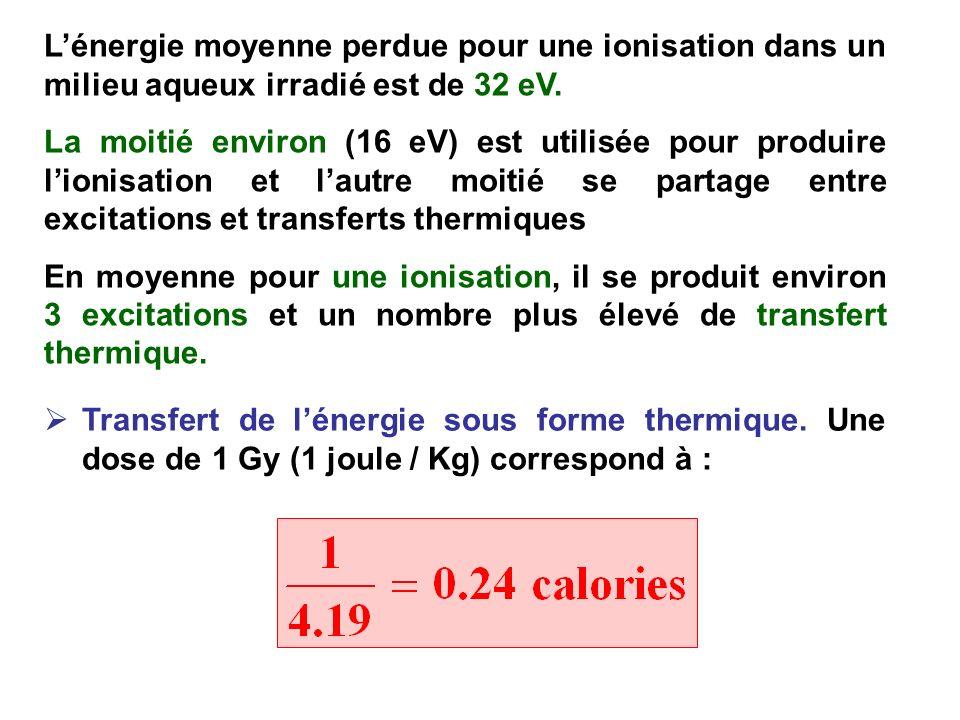 Lénergie moyenne perdue pour une ionisation dans un milieu aqueux irradié est de 32 eV. La moitié environ (16 eV) est utilisée pour produire lionisati