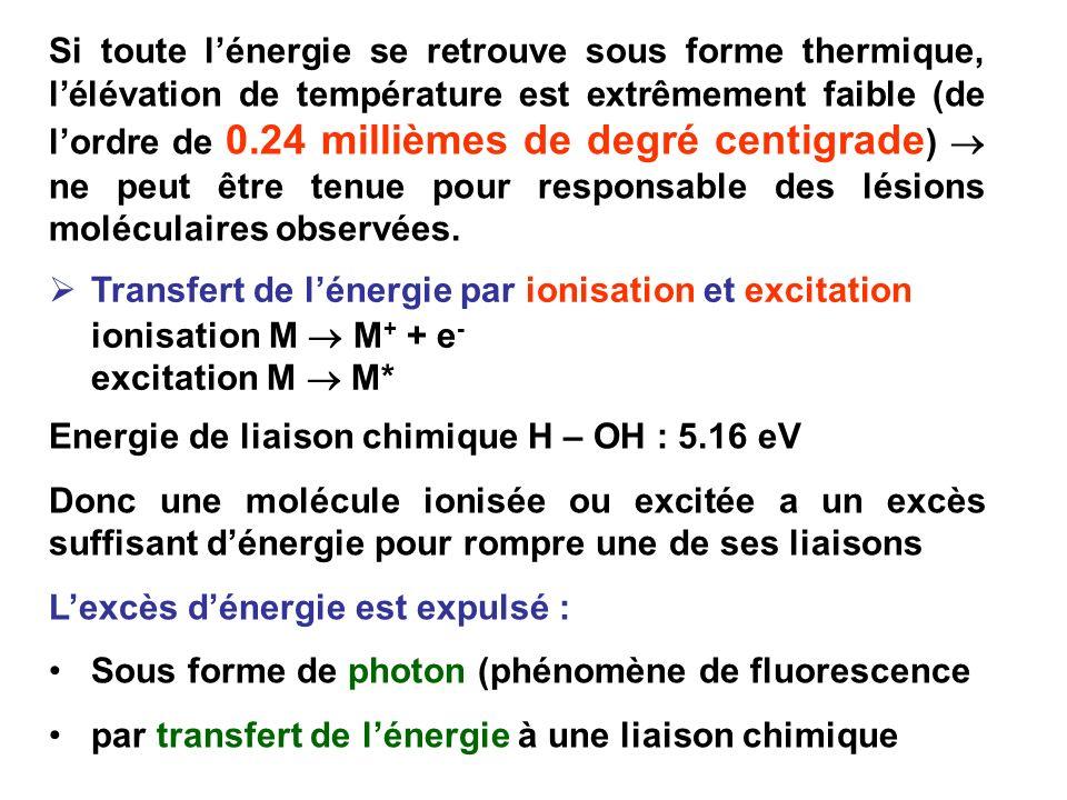 Si toute lénergie se retrouve sous forme thermique, lélévation de température est extrêmement faible (de lordre de 0.24 millièmes de degré centigrade