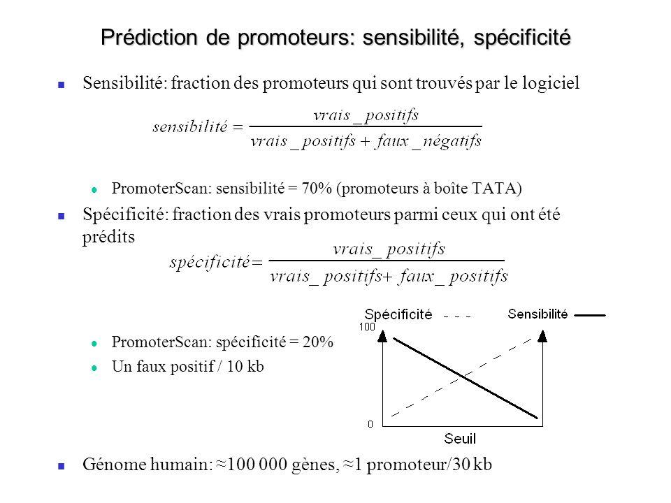 Prédiction de promoteurs: sensibilité, spécificité Sensibilité: fraction des promoteurs qui sont trouvés par le logiciel PromoterScan: sensibilité = 70% (promoteurs à boîte TATA) Spécificité: fraction des vrais promoteurs parmi ceux qui ont été prédits PromoterScan: spécificité = 20% Un faux positif / 10 kb Génome humain: 100 000 gènes, 1 promoteur/30 kb
