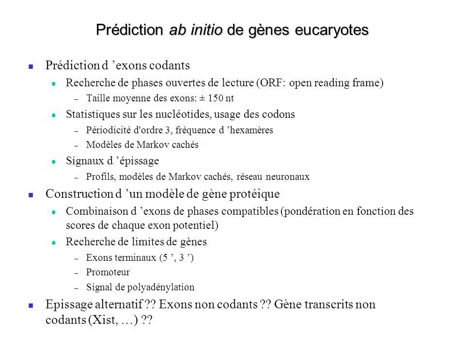 Prédiction ab initio de gènes eucaryotes Prédiction d exons codants Recherche de phases ouvertes de lecture (ORF: open reading frame) – Taille moyenne des exons: ± 150 nt Statistiques sur les nucléotides, usage des codons – Périodicité d ordre 3, fréquence d hexamères – Modèles de Markov cachés Signaux d épissage – Profils, modèles de Markov cachés, réseau neuronaux Construction d un modèle de gène protéique Combinaison d exons de phases compatibles (pondération en fonction des scores de chaque exon potentiel) Recherche de limites de gènes – Exons terminaux (5, 3 ) – Promoteur – Signal de polyadénylation Epissage alternatif .