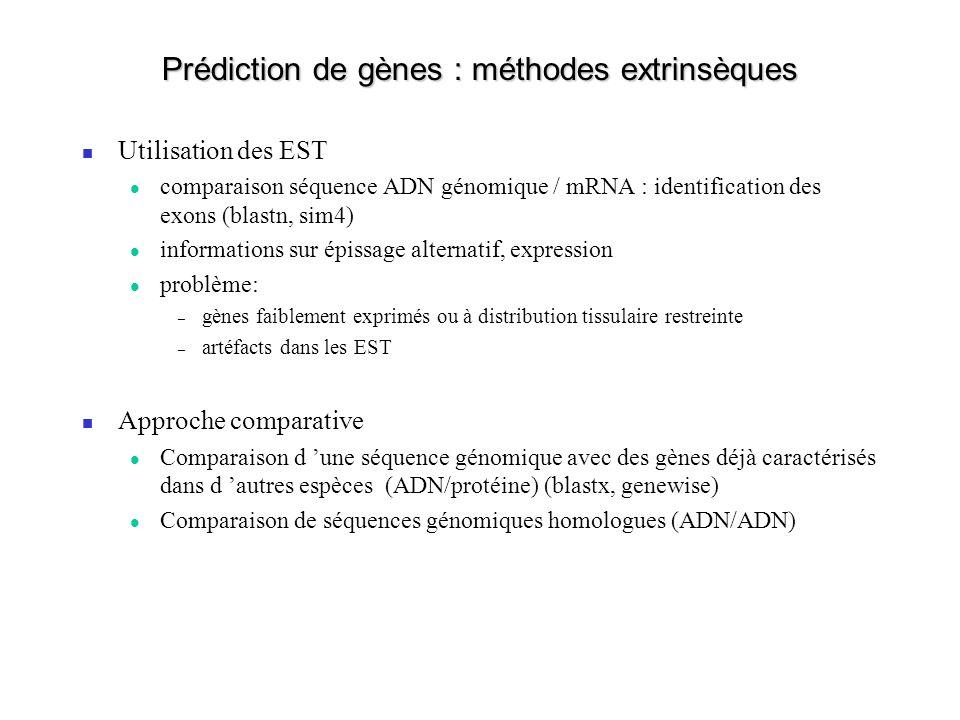 Prédiction de gènes : méthodes extrinsèques Utilisation des EST comparaison séquence ADN génomique / mRNA : identification des exons (blastn, sim4) in
