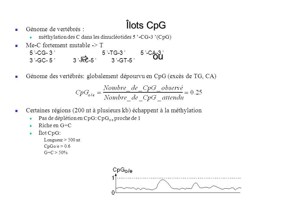 Îlots CpG Génome de vertébrés : méthylation des C dans les dinucléotides 5 -CG-3 (CpG) Me-C fortement mutable -> T 5 -CG- 3 5 -TG-3 5 -CA-3 3 -GC- 5 3