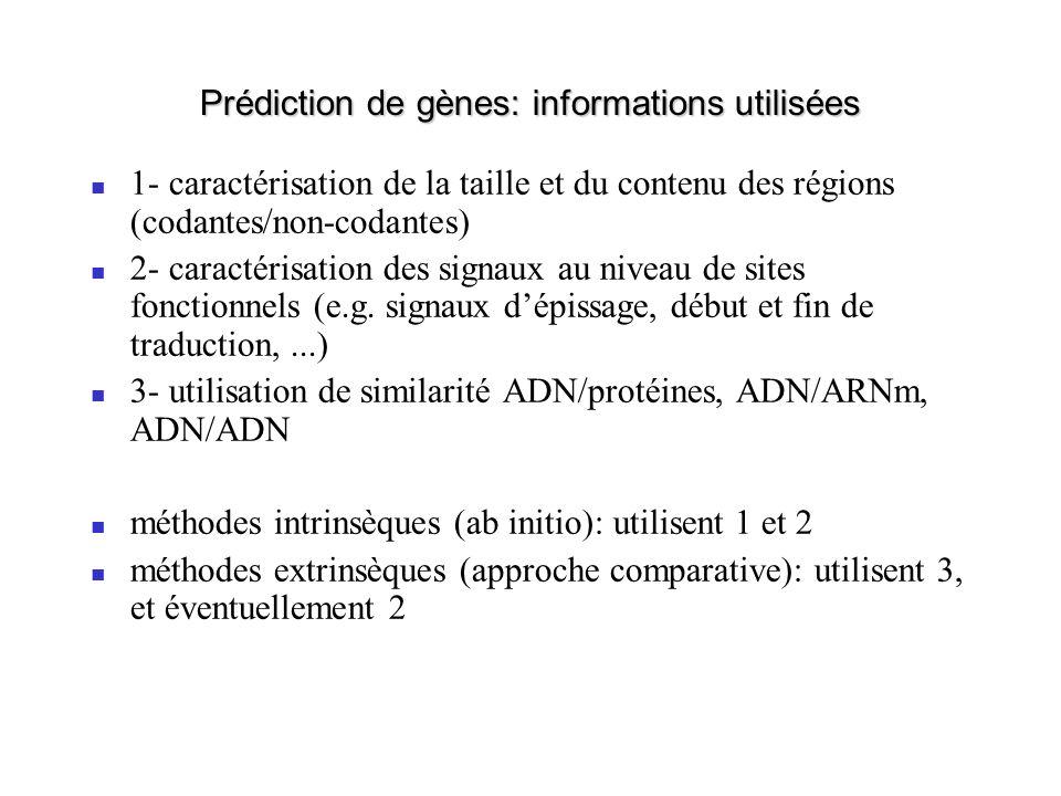 Prédiction de gènes: informations utilisées 1- caractérisation de la taille et du contenu des régions (codantes/non-codantes) 2- caractérisation des s