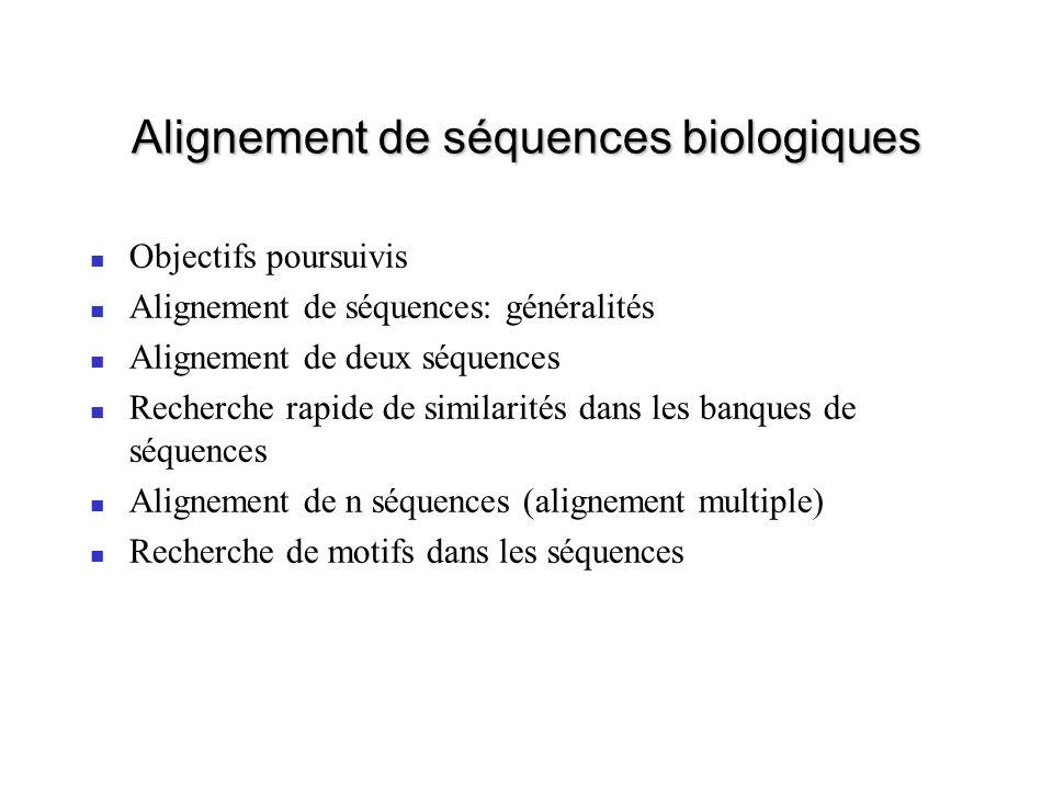 Alignement de séquences biologiques Objectifs poursuivis Alignement de séquences: généralités Alignement de deux séquences Recherche rapide de similarités dans les banques de séquences Alignement de n séquences (alignement multiple) Recherche de motifs dans les séquences
