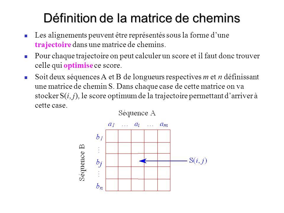 Définition de la matrice de chemins Les alignements peuvent être représentés sous la forme dune trajectoire dans une matrice de chemins.
