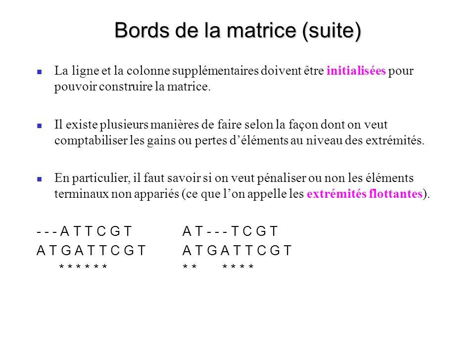 Bords de la matrice (suite) La ligne et la colonne supplémentaires doivent être initialisées pour pouvoir construire la matrice.