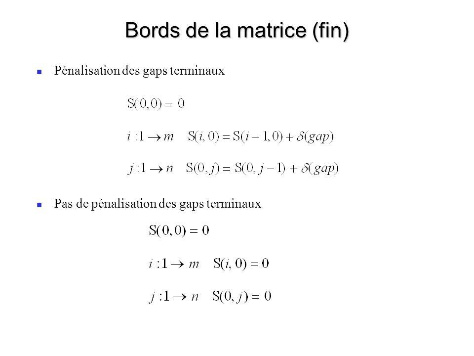 Bords de la matrice (fin) Pénalisation des gaps terminaux Pas de pénalisation des gaps terminaux