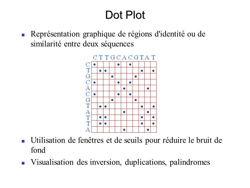 Dot Plot Représentation graphique de régions d identité ou de similarité entre deux séquences Utilisation de fenêtres et de seuils pour réduire le bruit de fond Visualisation des inversion, duplications, palindromes