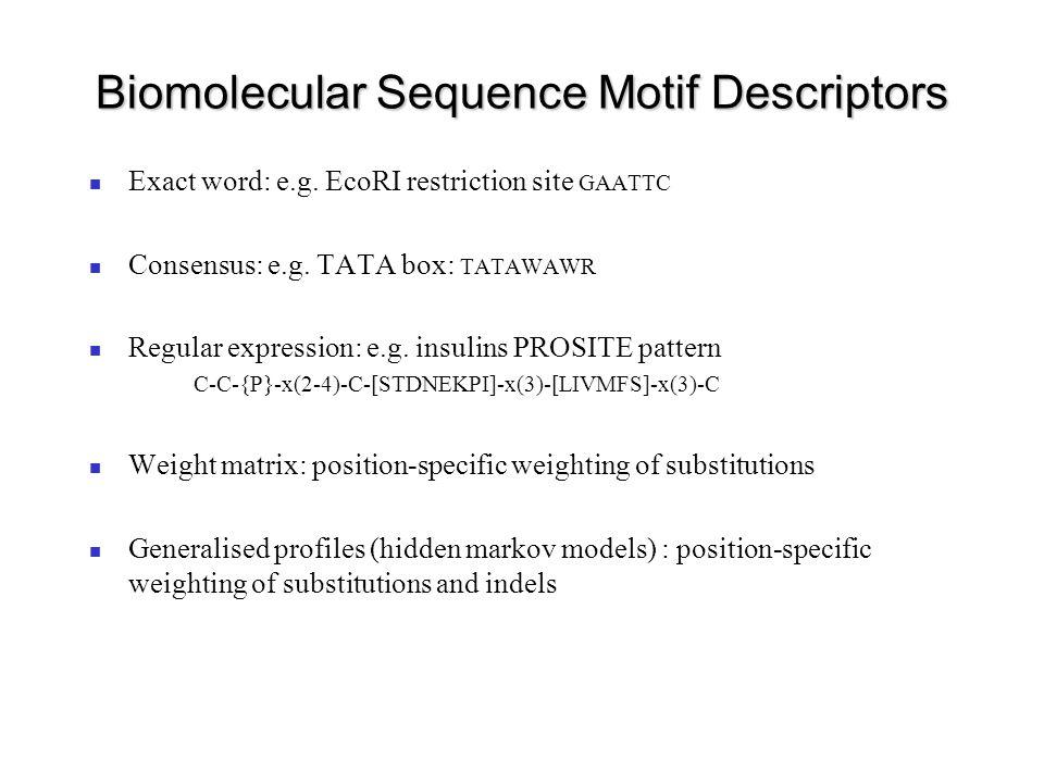 Biomolecular Sequence Motif Descriptors Exact word: e.g.