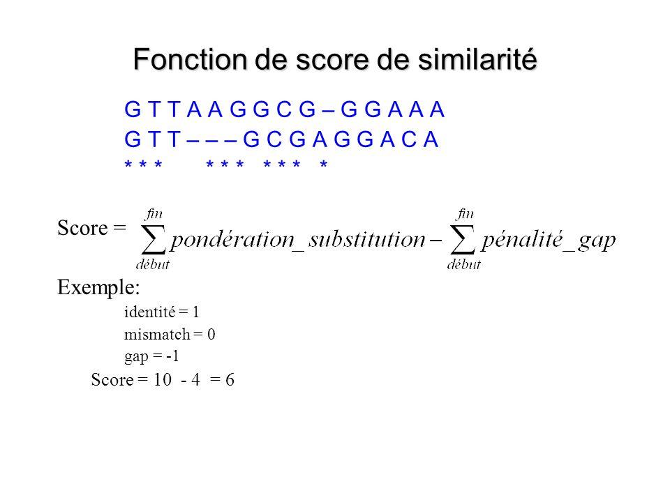 Fonction de score de similarité G T T A A G G C G – G G A A A G T T – – – G C G A G G A C A * * * * * Score = Exemple: identité = 1 mismatch = 0 gap = -1 Score = 10 - 4 = 6