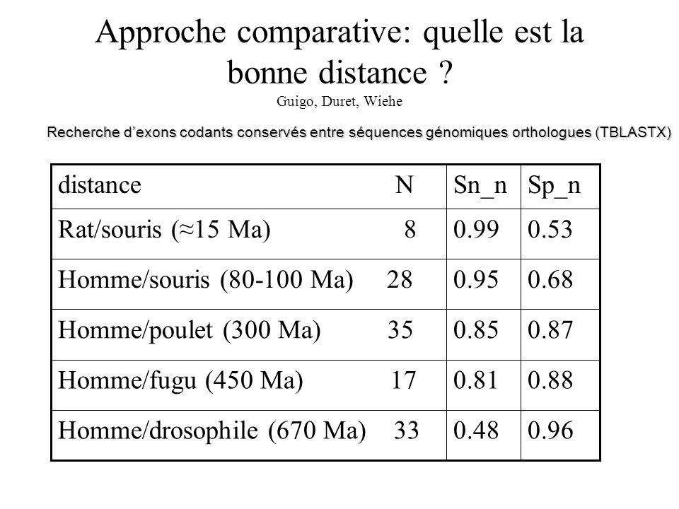 Approche comparative: quelle est la bonne distance ? Guigo, Duret, Wiehe 0.960.48Homme/drosophile (670 Ma) 33 0.880.81Homme/fugu (450 Ma) 17 0.870.85H