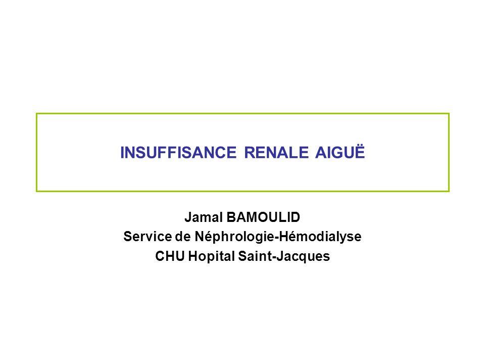INSUFFISANCE RENALE AIGUË Jamal BAMOULID Service de Néphrologie-Hémodialyse CHU Hopital Saint-Jacques