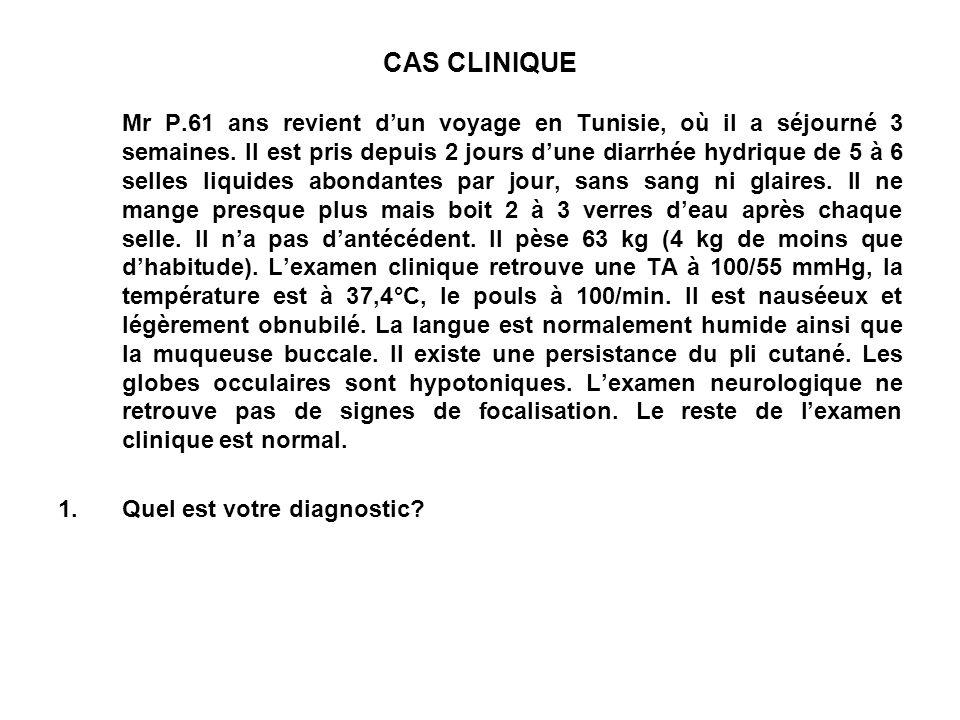 CAS CLINIQUE Mr P.61 ans revient dun voyage en Tunisie, où il a séjourné 3 semaines. Il est pris depuis 2 jours dune diarrhée hydrique de 5 à 6 selles