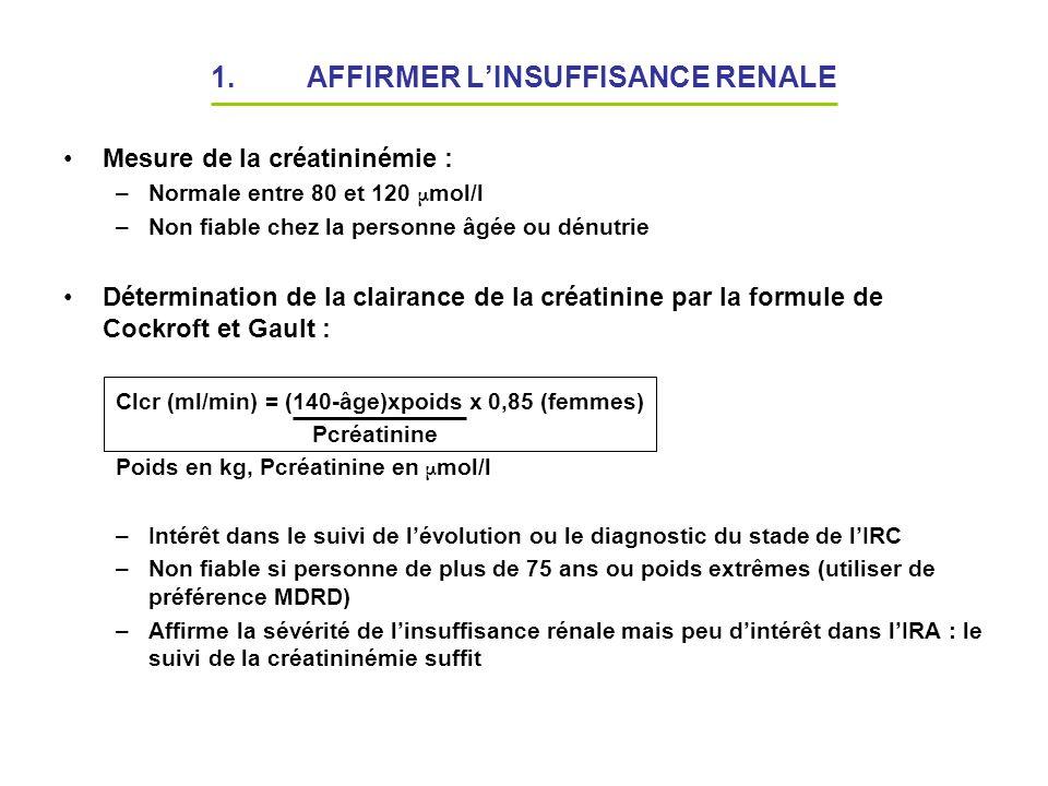 1.AFFIRMER LINSUFFISANCE RENALE Mesure de la créatininémie : –Normale entre 80 et 120 μ mol/l –Non fiable chez la personne âgée ou dénutrie Déterminat