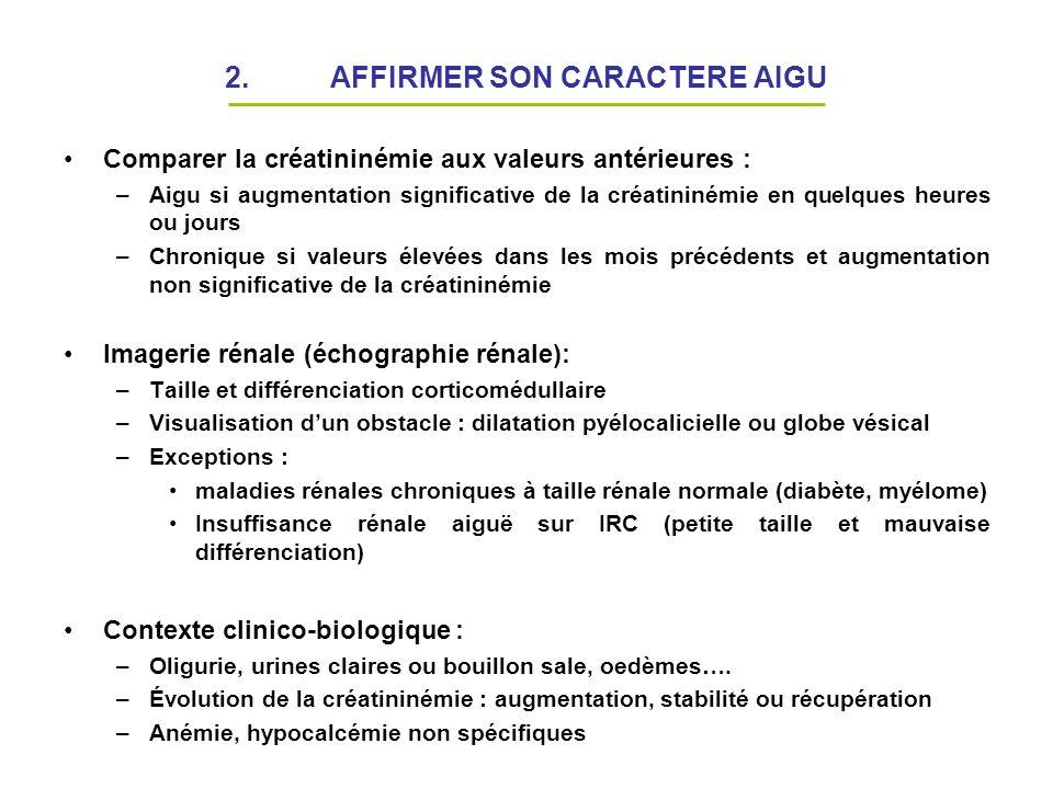 2. AFFIRMER SON CARACTERE AIGU Comparer la créatininémie aux valeurs antérieures : –Aigu si augmentation significative de la créatininémie en quelques