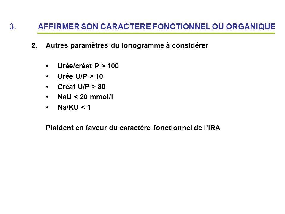 3. AFFIRMER SON CARACTERE FONCTIONNEL OU ORGANIQUE 2.Autres paramètres du ionogramme à considérer Urée/créat P > 100 Urée U/P > 10 Créat U/P > 30 NaU