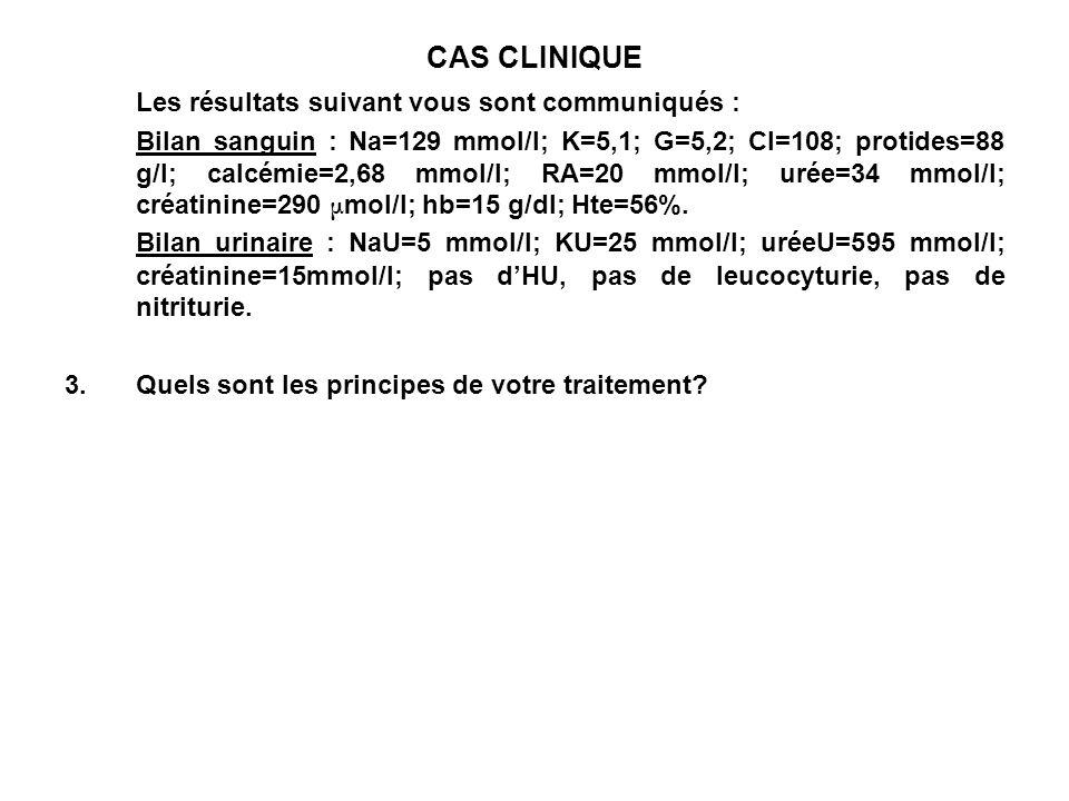 CAS CLINIQUE Les résultats suivant vous sont communiqués : Bilan sanguin : Na=129 mmol/l; K=5,1; G=5,2; Cl=108; protides=88 g/l; calcémie=2,68 mmol/l;