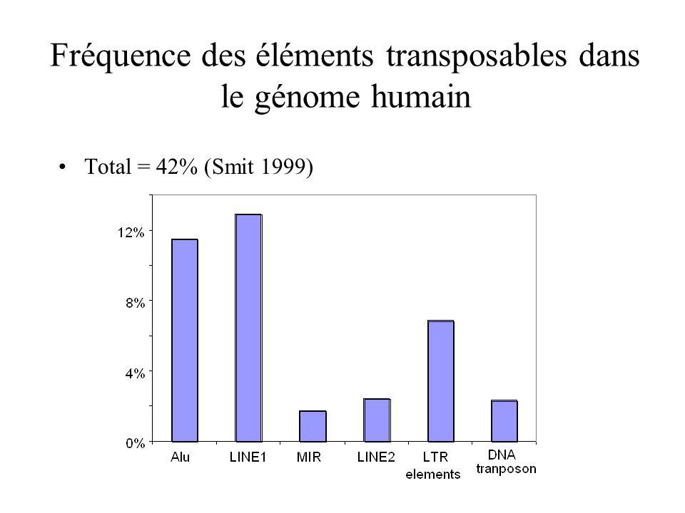 Fréquence des éléments transposables dans le génome humain Total = 42% (Smit 1999)