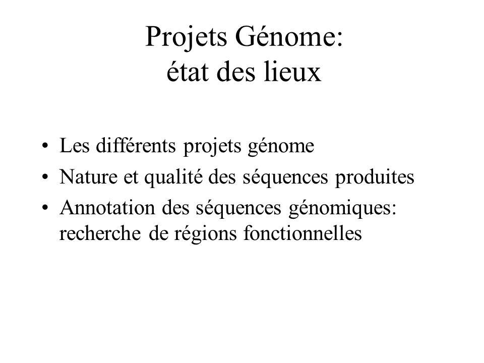 Projets Génome: état des lieux Les différents projets génome Nature et qualité des séquences produites Annotation des séquences génomiques: recherche