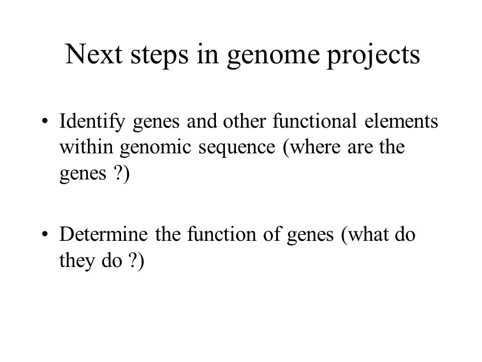 Next steps in genome projects Identify genes and other functional elements within genomic sequence (where are the genes ?) Determine the function of g