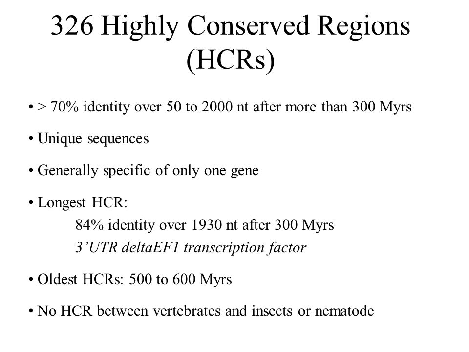 326 Highly Conserved Regions (HCRs) > 70% identity over 50 to 2000 nt after more than 300 Myrs Unique sequences Generally specific of only one gene Lo
