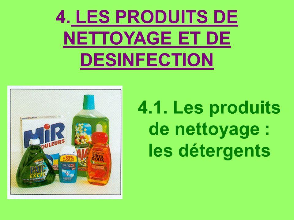 4.1. Les produits de nettoyage : les détergents 4. LES PRODUITS DE NETTOYAGE ET DE DESINFECTION