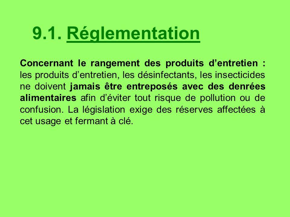9.1. Réglementation Concernant le rangement des produits dentretien : les produits dentretien, les désinfectants, les insecticides ne doivent jamais ê