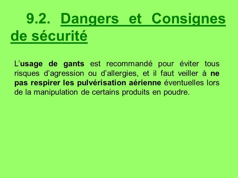 9.2. Dangers et Consignes de sécurité Lusage de gants est recommandé pour éviter tous risques dagression ou dallergies, et il faut veiller à ne pas re