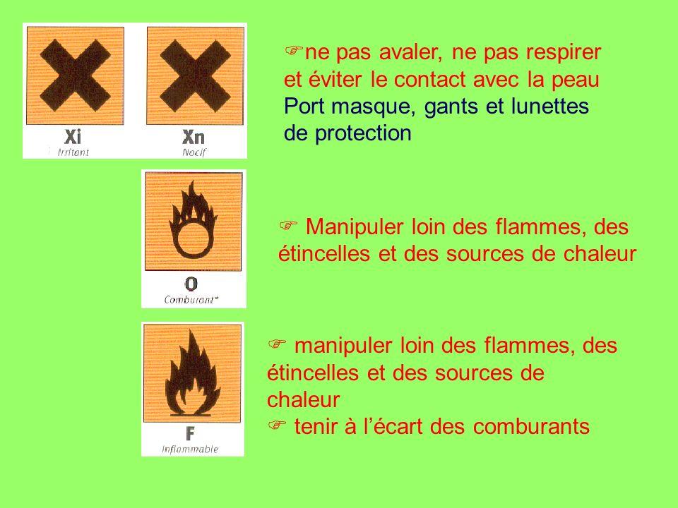 ne pas avaler, ne pas respirer et éviter le contact avec la peau Port masque, gants et lunettes de protection Manipuler loin des flammes, des étincell