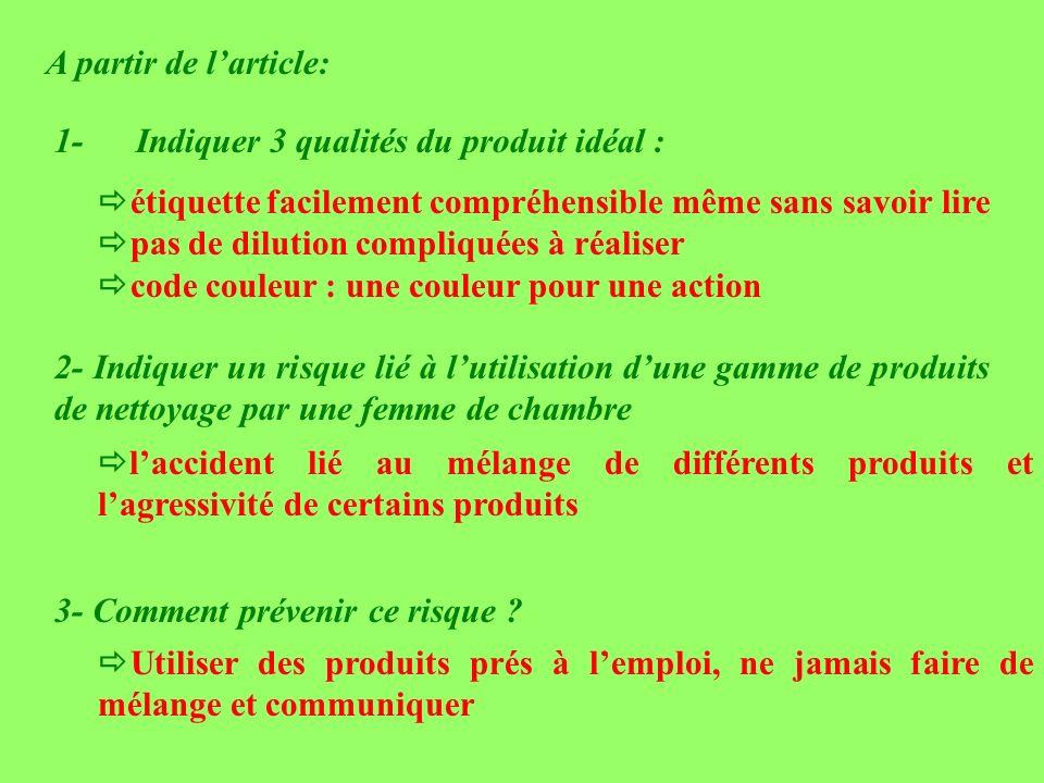 A partir de larticle: 1- Indiquer 3 qualités du produit idéal : étiquette facilement compréhensible même sans savoir lire pas de dilution compliquées