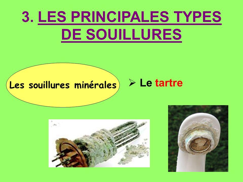 Les souillures minérales Le tartre 3. LES PRINCIPALES TYPES DE SOUILLURES