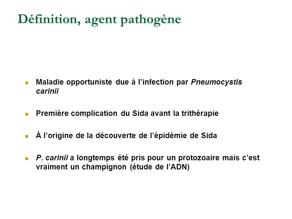Définition, agent pathogène Maladie opportuniste due à linfection par Pneumocystis carinii Première complication du Sida avant la trithérapie À lorigi