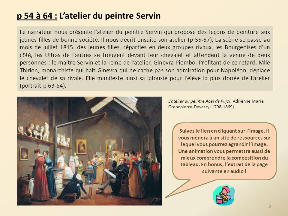 p 54 à 64 : Latelier du peintre Servin Le narrateur nous présente latelier du peintre Servin qui propose des leçons de peinture aux jeunes filles de b