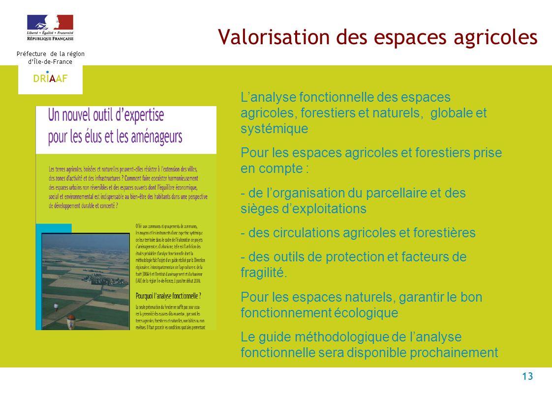 13 Préfecture de la région dÎle-de-France DRIAAF Valorisation des espaces agricoles Lanalyse fonctionnelle des espaces agricoles, forestiers et nature