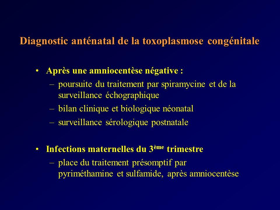 Diagnostic anténatal de la toxoplasmose congénitale Après une amniocentèse négative : –poursuite du traitement par spiramycine et de la surveillance é