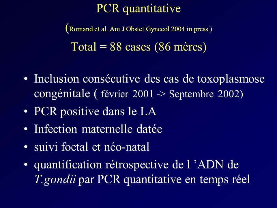 PCR quantitative ( Romand et al. Am J Obstet Gynecol 2004 in press ) Total = 88 cases (86 mères) Inclusion consécutive des cas de toxoplasmose congéni