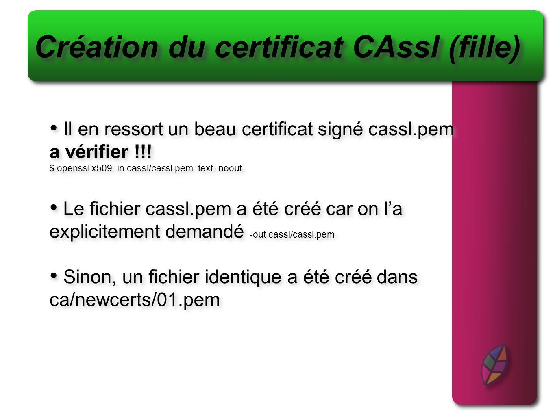 Création du certificat CAssl (fille) Il en ressort un beau certificat signé cassl.pem a vérifier !!! $ openssl x509 -in cassl/cassl.pem -text -noout L