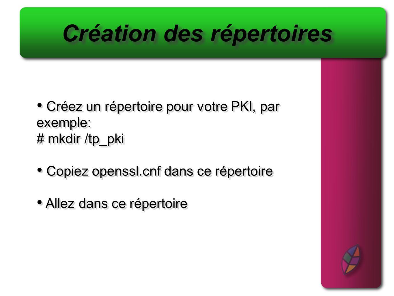 Créez un répertoire pour votre PKI, par exemple: # mkdir /tp_pki Copiez openssl.cnf dans ce répertoire Allez dans ce répertoire Créez un répertoire po