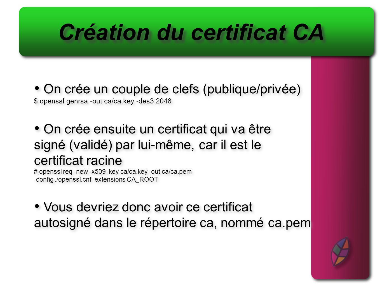 Création du certificat CA On crée un couple de clefs (publique/privée) $ openssl genrsa -out ca/ca.key -des3 2048 On crée ensuite un certificat qui va