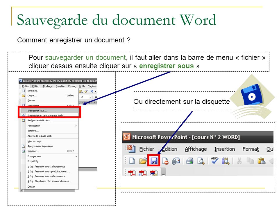 Sauvegarde du document Word Comment enregistrer un document .