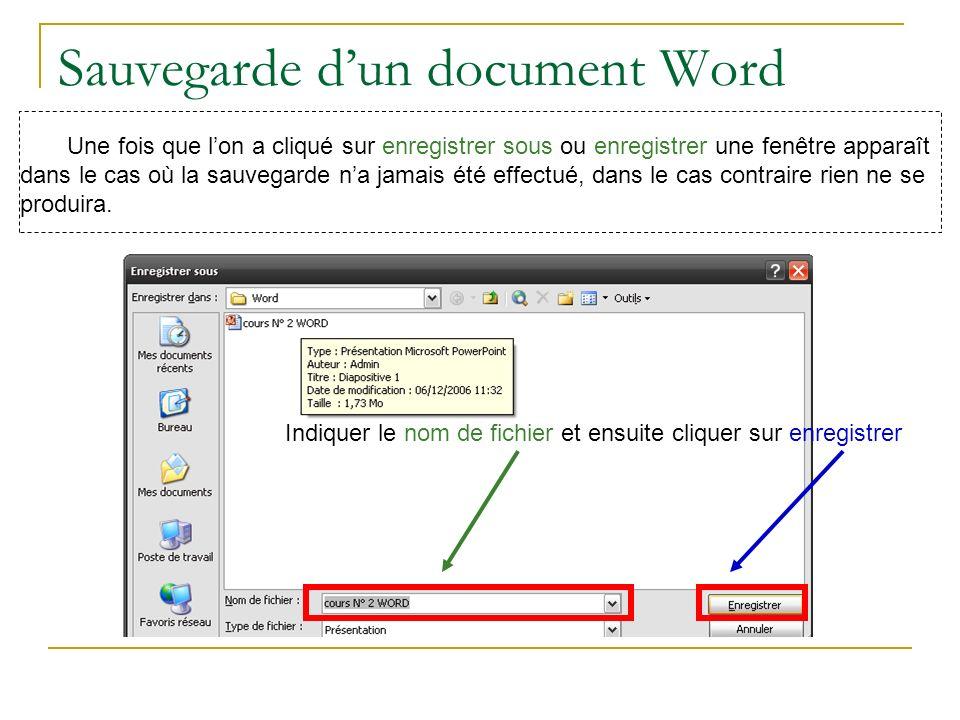 Sauvegarde dun document Word Une fois que lon a cliqué sur enregistrer sous ou enregistrer une fenêtre apparaît dans le cas où la sauvegarde na jamais été effectué, dans le cas contraire rien ne se produira.